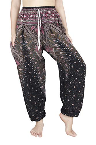 (Lofbaz Women's Peacock 1 Drawstring Harem Boho Pants Black & Red XL)
