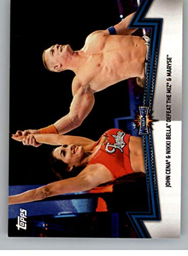 2018 Topps WWE Women's Division Memorable Matches and Moments #SDL-7 John Cena and Nikki Bella Defeat The Miz & Maryse Wrestling Trading Card