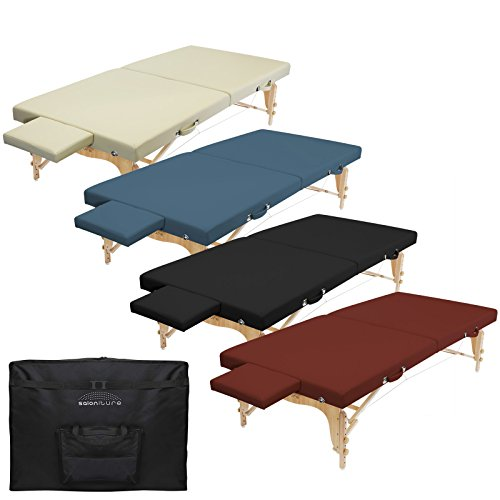 Saloniture Portable Physical Therapy Massage Table - Low to Ground Stretching Treatment Mat Platform - Burgundy