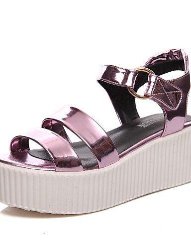 Chaussures Femme Shangyi Plate-forme De Plate-forme En Cuir Verni / Slingback / Gladiator / Creepers / Confort / Nouveauté / Bride De Cheville / Gris