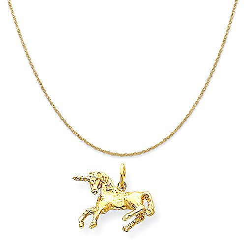 14k Yellow Gold Unicorn Charm on a 14K Yellow Gold Rope Chain Necklace, 16