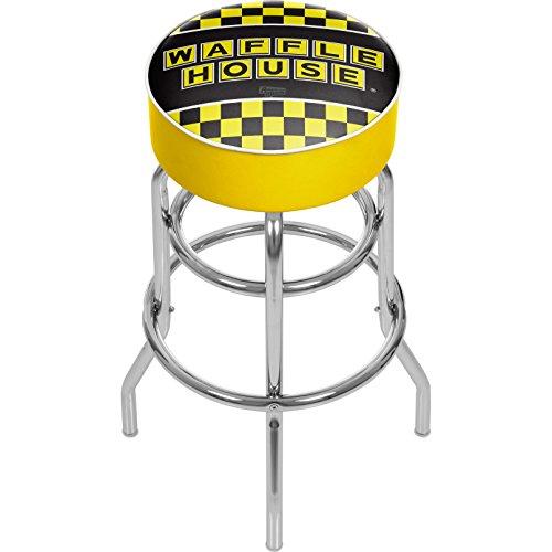 Buy waffle house checkered padded swivel bar stool