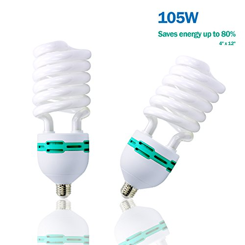 105w Cfl - Julius Studio 2-Pack Full Spectrum Light Bulb 105 Watt 6500 Kelvin, Compact Fluorescent CFL Lighting Bulb for Photo Video Studio, Photography Studio, JSAG328