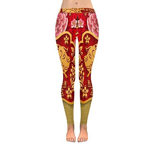 INTERESTPRINT Vintage Red Pig Zodiac Chinese Paper Cut Style Women's Capri Leggings Stretchy Skinny Yoga Pants 4XL