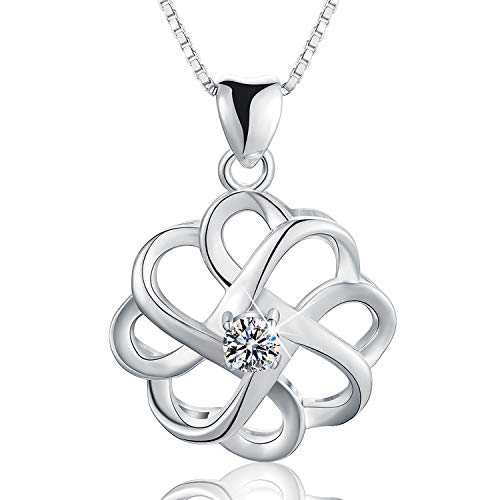 Esberry 18K Gold Plated 925 Sterling Silver CZ Simulated Diamond Vintage Celtic Knot Pendant Necklace Cubic Zirconia Pendant with Necklaces for Girls and Women (White Gold-2)