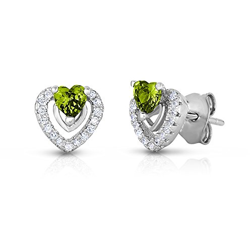 Halo-Heart-Stud-Earring-in-Sterling-Silver-with-Simulated-Birthstone-and-CZ