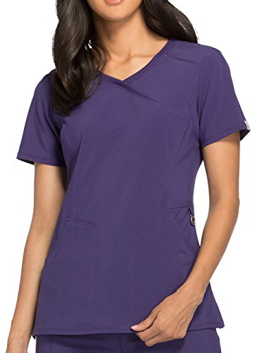 - Cherokee Infinity Women's Mock Wrap Solid Scrub Top Small Grape