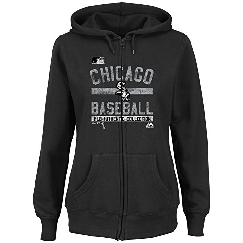 Majestic Chicago White Sox Women's Hoodie Full Zip Hooded Fleece (L)