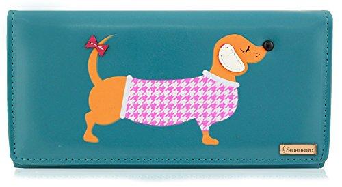 Dachshund Wallet (Kukubird New Girls / Ladies Large Dachshund Cartoon Designs Purse Wallet - Blue)