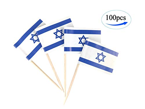 JBCD Israel Flag Israeli Flags,100 Pcs Cupcake Toppers Flag, Country Toothpick Flag,Small Mini Stick Flags Picks Party Decoration Celebration Cocktail Food Bar Cake Flags