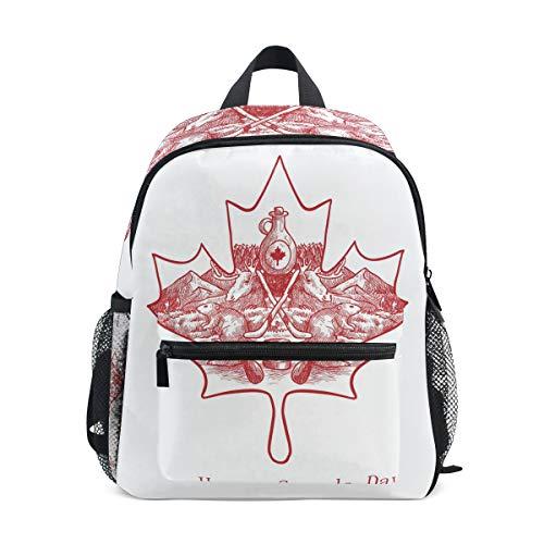 Jojogood Canada Day Drawn Toddler Kids School Backpack Cute Durable Kindergarten Shoulder Bag