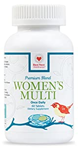 Best Nest Women's Multi Vitamins | Methylfolate, Methylcobalamin (B12), Whole Food Multivitamins, Probiotics, 100% Natural Organic Blend, Once Daily Multivitamin, 60 Tablets