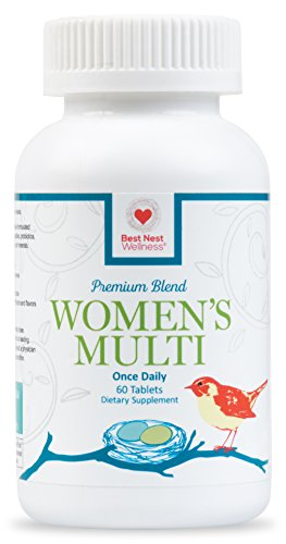 Best Nest Women's Multi Vitamins   Methylfolate, Methylcobalamin (B12), Multivitamins, Probiotics, Made with 100% Natural Whole Food Organic Blend, Once Daily Multivitamin, 60 Tablets