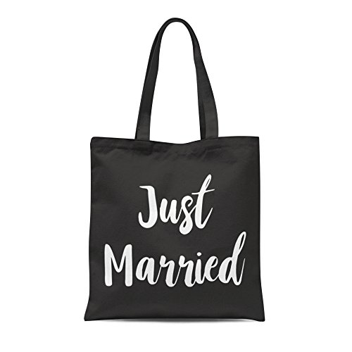 Just Married Printed Tote Shopping Bag Wedding Bride Groom Honeymoon Party Gift Black With White Print