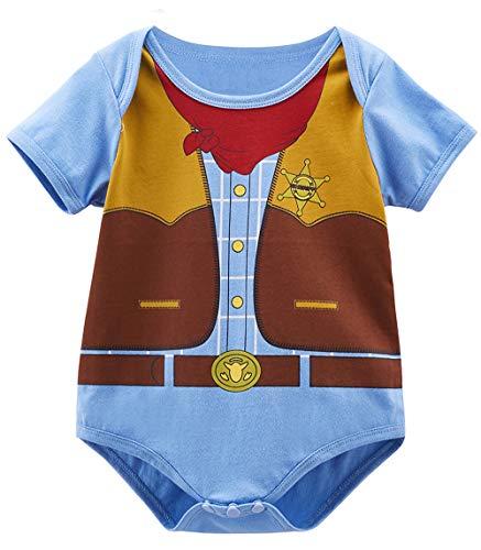 COSLAND Baby Boys' West Cowboy Costume Bodysuit (Cowboy, 0-3 Months)