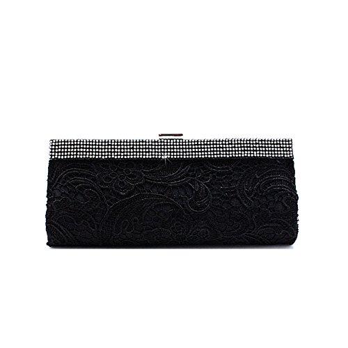 MissFox Women's Retro Casual Bead Lace Flower Clutch Evening Bags Black
