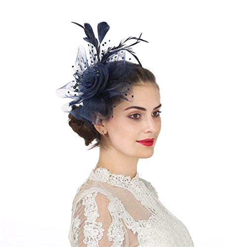 Fascinator Women's Organza Church Kentucky Derby British Bridal Tea Party Wedding Hat Summer Ruffles Cap (Hj4-Navy)