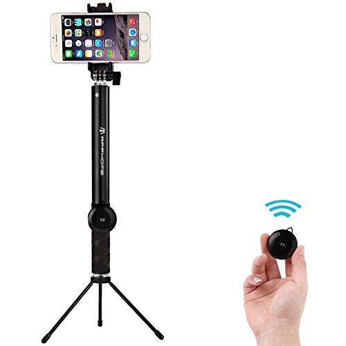 selfie stick apphome aluminum extendable monopod with metal tripod stand and. Black Bedroom Furniture Sets. Home Design Ideas