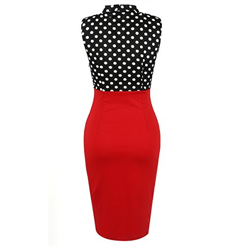 V Color Bodycon Linaking OL Dress Neck Lady Office Sleeveless for Length Dress Block Red Knee Hipsters Pencil F5Fwq8pt