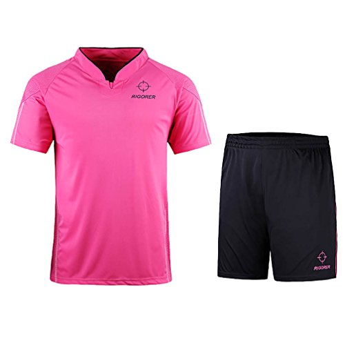 RIGORER Short-Sleeve Soccer Uniforms Jersey and Shorts Set Pink 2XL