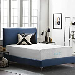 This plush, 16 inch thick mattress comes with four layers that work together to bring you optimal comfort in your sleep. The first layer is a 1 inch bamboo charcoal memory foam layer sewn into the soft outer cover. Bamboo charcoal is especial...