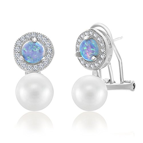 Boys Snowflake Costume Uk (Sterling Silver Created Blue Opal Freshwater Pearl & Cubic Zirconia Border Post Earring (Silver))