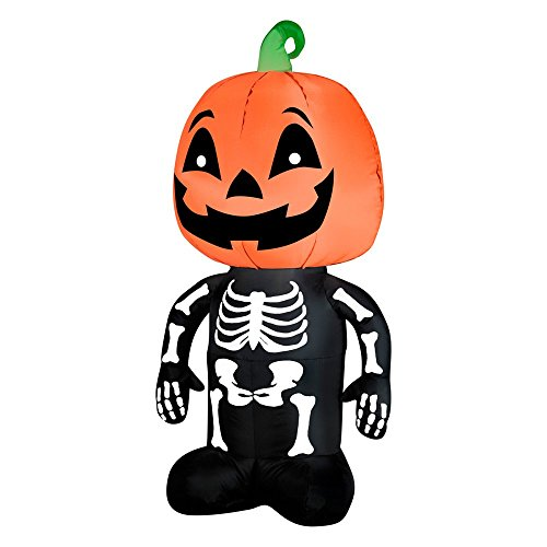 Gemmy Airblown Inflatable Skeleton Boy with a Pumpkin as His Head - Holiday Decoration, 3.5-foot Tall