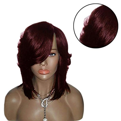 Side Brown Wig Straight Feathered Synthetic Red Light Part High Ring Wine temperature Women Medium Wale 4qx1wapBF