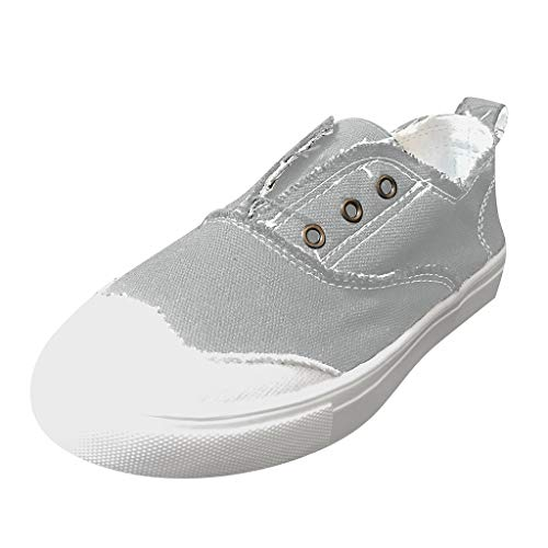 TnaIolral Women Peas Shoes Breathable Flat Thick-Soled Single Shoes Casual Sport Shoes (US:8.5, Gray)