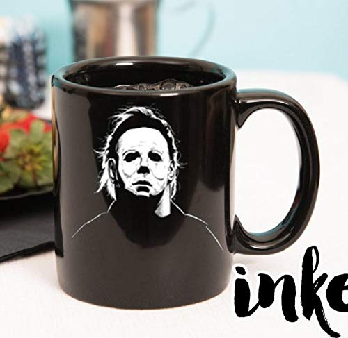 11 oz Ceramic Coffee Mug, Halloween Michael Meyers, INKED KY, michael myers image and quote - you can39;t kill the boogeyman, halloween -
