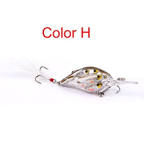 Price comparison product image Fishing Lures,  Boofab 8cm Artificial Bait Minnow Fishing Lures Plastic Hard Baits Lure Fishing Lures Kit for Bass Trout Crankbaits Jerkbaits Saltwater (H)