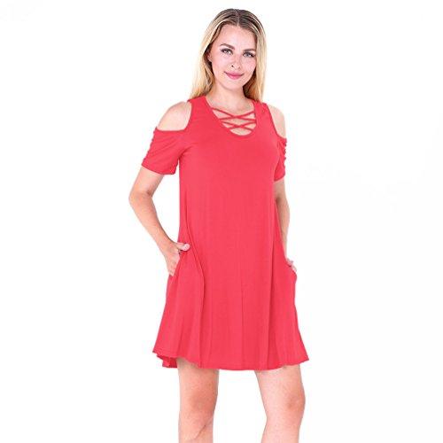 NiSeng Mujer Vestido Camiseta Verano Moda Casual Vestido V-Cuello Manga Corta Mini Vestido Rojo