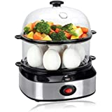 PowerDoF ZDQ-702A Multifunctional Dual Layer Electric Cooker with 14 Egg Capacity, Small White