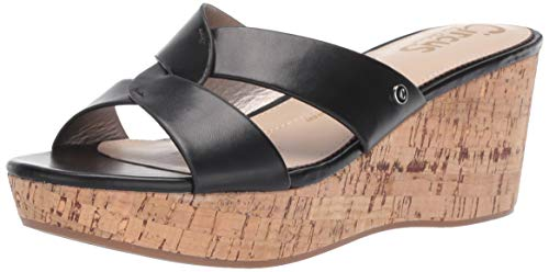 Circus by Sam Edelman Women's Riviera Wedge Sandal, Black Smooth Atanado Veg, 7.5 M - Sandals Summer Black