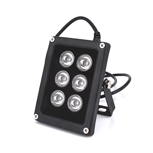 Ir Illuminator 850nm,6 Leds 90 Degree Wide Angle Infrared Illuminator Waterproof for Night Vision IP Camera,CCTV Security - Glasses Night Really Do Work Vision
