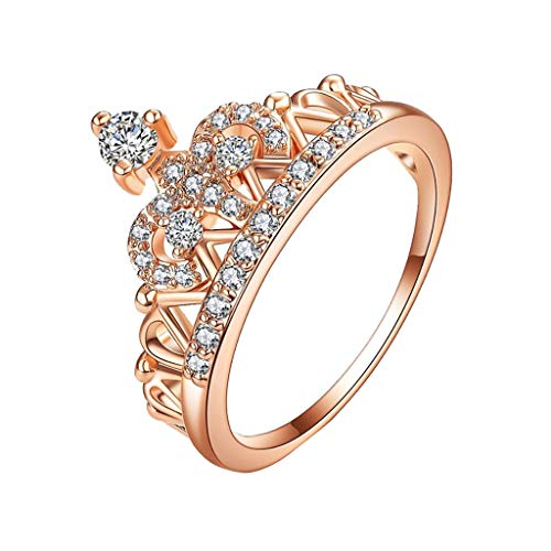 Kintaz Women's Engagement Wedding Luxury Noble Crown Plated Copper Diamonds Ring Jewelry (8, Rose Gold)