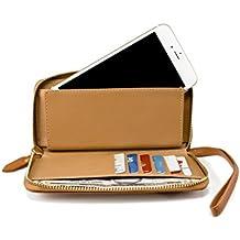Cell Phone Wallet Cash Stash Pouch Case Fits iPhone 8, 7, 6, Galaxy J3 Emerge, Express Prime 2, Amp Prime 2, J3, J3 Prime, LG K3 2017, ZTE Tempo, Huawei Nova, Nova 2, Essential Phone ( PH-1) (Brown)