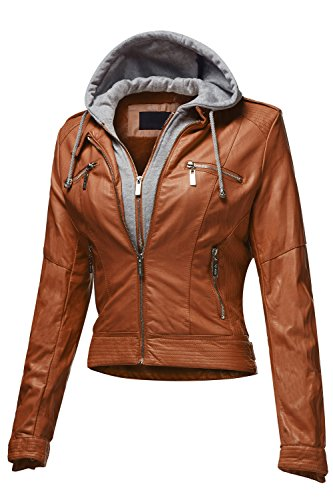 Luna Flower Womens Slim Fit Faux Shearling Collar Leather Jackets (GJAW003)