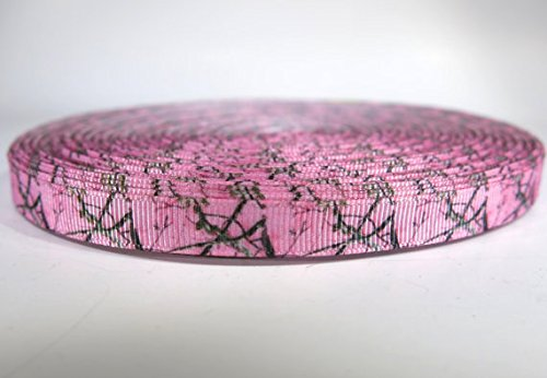 5 yards of 3/8 inch pink camouflage grosgrain ribbon