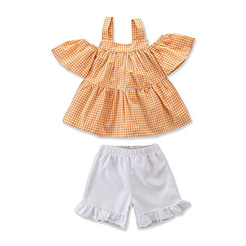 (Toddler Baby Girl Floral Halter Ruffled Outfits Set Strap Crop Tops+Short Pants 2 PCS Clothes Set (Orange Plaid, 2-3 Years))