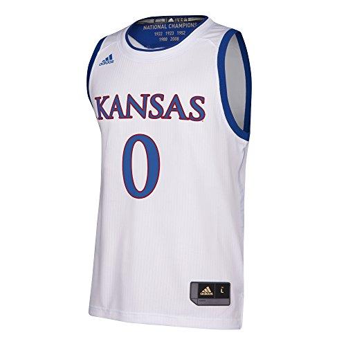 adidas NCAA Kansas Jayhawks Replica Jersey, White, X-Large