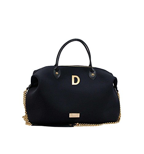 Borsa Bauletto Medium In Neoprene Con Iniziali - nero, D