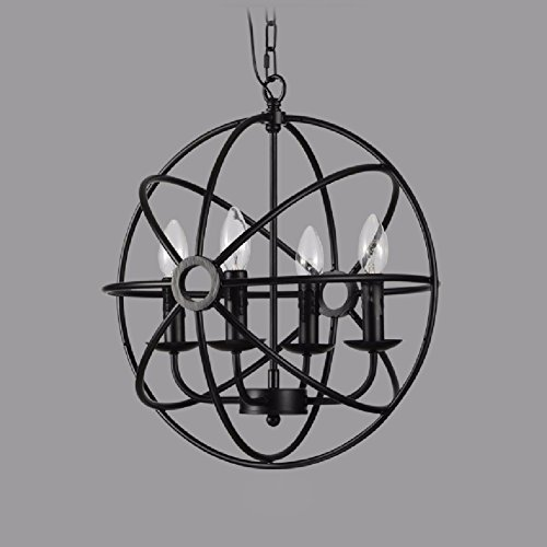 HQLCX Chandelier American Country Bar Restaurant Cafe Chandelier Loft Retro Iron Globe Chandelier 55Cm by HQLCX-Chandeliers