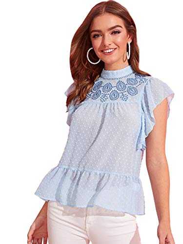 (DIDK Women's Butterfly Cap Sleeve Ruffle Hem Embroidery Swiss Dot Sheer Top Blouse Blue Small)