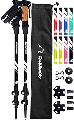 TrailBuddy Lightweight Trekking Poles - 2-pc Pack Adjustable Hiking or Walking Sticks - Strong Aircraft Aluminum - Quick Adjust Flip-Lock - Cork Grip