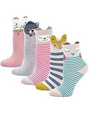 Kids Toddler Girls Fashion Cotton Crew Seamless Socks 5 Pack