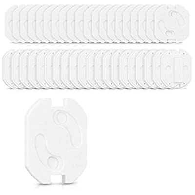 Navaris 20in1 set child safety power socket - kids power plug protection with turn mechanism self-adhesive white - socket safety for baby and small children
