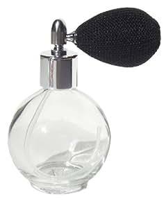 Refillable Empty Glass Perfume Bottle with Black Mesh Spray Atomizer 2.65 oz Ounces