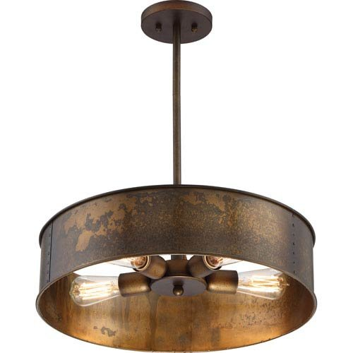 251 First River Station Weathered Brass Four-Light Industrial Drum Pendant from 251 First