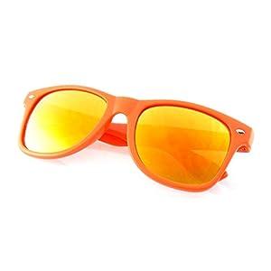 Emblem Eyewear - Premium Horn Rimmed Style Sunglasses (Mirrored Lens   Orange, 0)